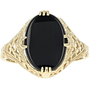 Vintage Onyx Ring - 14k Yellow Gold Solitaire Milgrain Women's Size 8