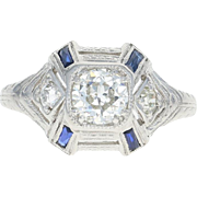 Art Deco Diamond & Syn. Sapphire Ring - Platinum Etched Vintage European .63ctw