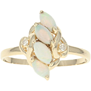 Opal & Diamond Ring - 14k Yellow Gold Marquise Cabochon .69ctw