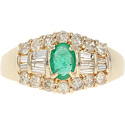 Emerald & Diamond Ring - 14k Yellow Gold Oval Brilliant 1.30ctw