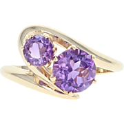 Amethyst Bypass Ring - 14k Yellow Gold Size 6 1/2 Round Brilliant 1.80ctw