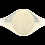 "Initial ""V"" Signet Ring - 10k Yellow Gold Women's Size 8 1/2 - 8 3/4"