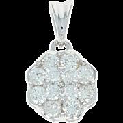 Diamond Cluster Pendant - 14k White Gold Flower Round Cut 1.00ctw