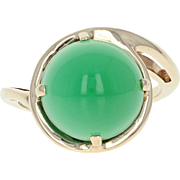 Green Chalcedony Bypass Ring - 10k Yellow Gold Women's Size 7 1/4