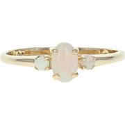 Opal Ring - 10k Yellow Gold Size 6 Cabochon Cut .30ctw