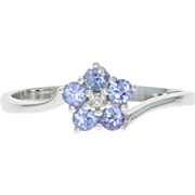 Tanzanite & Diamond Flower Ring - 10k White Gold Bypass Round Brilliant .36ctw