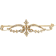 Edwardian Seed Pearl Brooch - 14k Yellow Gold Vintage Pin
