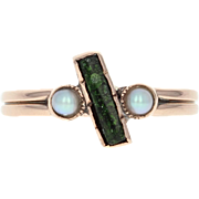 Victorian Green Glass & Seed Pearl Ring -14k Rose Gold Bypass Size 4 1/2 Antique