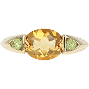 Citrine & Peridot Ring - 14k Yellow Gold Women's Size 8
