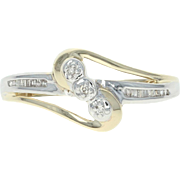 Two - Tone Diamond Ring - 10k Yellow & White Gold Bypass Cocktail Women's Gift