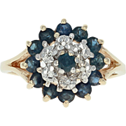 Sapphire & Diamond Cluster Halo Ring - 10k Yellow Gold Round Cut .94ctw