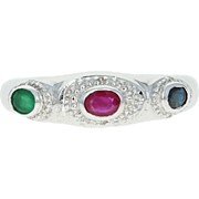Ruby, Sapphire, & Emerald Ring - 14k Gold Halo-Inspired Diamond Accents .40ctw
