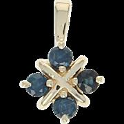 Sapphire Pendant - 10k Yellow Gold 0.52ctw Round Cut Floral Women's Fine Gift