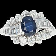 Sapphire & Diamond Ring - 14k White Gold Size 5 1/2 Oval 2.03ct