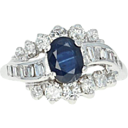 Sapphire & Diamond Ring - 14k White Gold Size 5 1/2 Oval 2.03ct