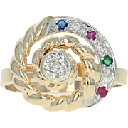 Multi-Gemstone Spinner Ring - 14k Gold Rubies Sapphire Emerald Dias Moves .15ctw