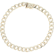 "Curb Chain Bracelet 7 1/2"" - 14k Yellow Gold Men's Gift"