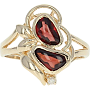 Garnet Bypass Ring - 14k Gold Diamond Accent Size 6 1/2 - 6 3/4