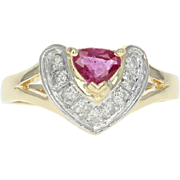 Ruby & Diamond Ring - 14k Yellow Gold Pear Brilliant .45ctw