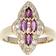 Ruby & Diamond Halo Ring - 14k Yellow Gold Marquise Brilliant 1.00ctw