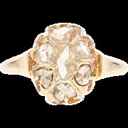 Georgian Diamond Ring - 14k Rose Gold Antique Cluster Halo Rose Cut .45ctw