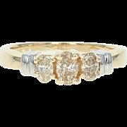 Three-Stone Diamond Ring - 14k Yellow Gold Size 5 1/4 Oval Cut .51ctw