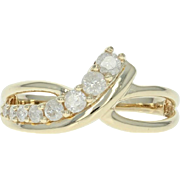 Diamond Journey Ring - 10k Yellow Gold Crossover Round Brilliant .50ctw