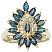 Sapphire & Diamond Ring - 14k Yellow Gold Halo Marquise Brilliant 1.84ctw