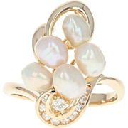 Freshwater Pearl & Diamond Bypass Ring - 14k Yellow Gold Round Brilliant .18ctw