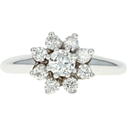 Floral Diamond Halo Ring - 14k White Gold Size 4 1/2 Round Cut .54ctw