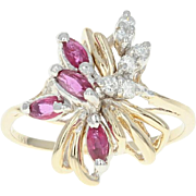 Ruby & Diamond Ring - 14k Yellow Gold Cluster Marquise Brilliant .57ctw