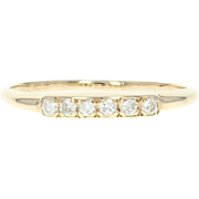 Diamond Wedding Band - 14k Yellow Gold Women's Ring Round Brilliant .12ctw