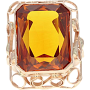 Retro Synthetic Sapphire Cocktail Ring - 14k Rose Gold Size 9 Vintage 25.00ct