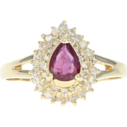Ruby & Diamond Halo Ring - 14k Yellow Gold Pear Brilliant .59ctw