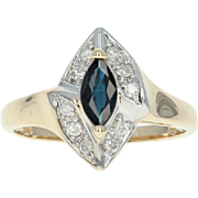 Sapphire & Diamond Halo Bypass Ring - 14k Yellow Gold Marquise Brilliant .64ctw