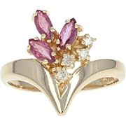 Floral Ruby & Diamond Ring - 14k Yellow Gold Marquise Brilliant .61ctw