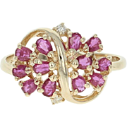 Ruby & Diamond Ring - 14k Yellow Gold Size 6 1/2 Pear Brilliant .73ctw
