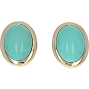 Turquoise Stud Earrings - 14k Yellow Gold Oval Cabochons Pierced
