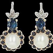 Cultured Pearl, Sapphire, & Diamond Halo Earrings -14k Gold Pierced Drop 2.26ctw