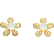 Cultured Pearl Flower Earrings - 14k Yellow Gold Etched Studs Pierced