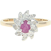 Pink Sapphire & Diamond Ring - 10k Yellow Gold 0.34ctw Pear Solitaire w/ Accents