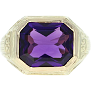 Vintage Amethyst Ring - 14k Yellow Gold Size 3 1/2 Solitaire 5.50ct