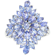 Tanzanite Cluster Cocktail Ring - 10k White Gold Marquise Brilliant 4.50ctw