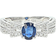 Sapphire & Diamond Ring - 14k White Gold Milgrain Oval Brilliant .69ctw