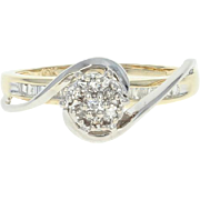Diamond Ring - 10k Yellow Gold Cluster Size 6 Single Cut .12ctw