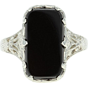 Art Deco Onyx Filigree Ring - 14k White Gold Vintage Size 6 1/4