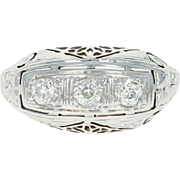 Art Deco Belais Three-Stone Diamond Ring -18k White Gold Vintage Mine Cut .36ctw