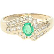 Emerald & Diamond Bypass Ring - 14k Yellow Gold Oval .73ctw