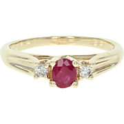 Ruby & Diamond Ring - 10k Yellow Gold Size 8 1/4 Oval Brilliant .45ctw