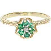 Emerald & Diamond Ring - 10k Yellow Gold 0.23ctw Floral Thistle Openwork